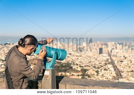 Man Watching Francisco Downtown On A Binocular From Twin Peaks
