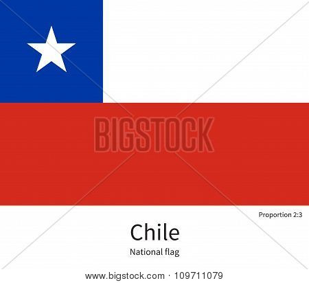 National flag of Chile with correct proportions, element, colors