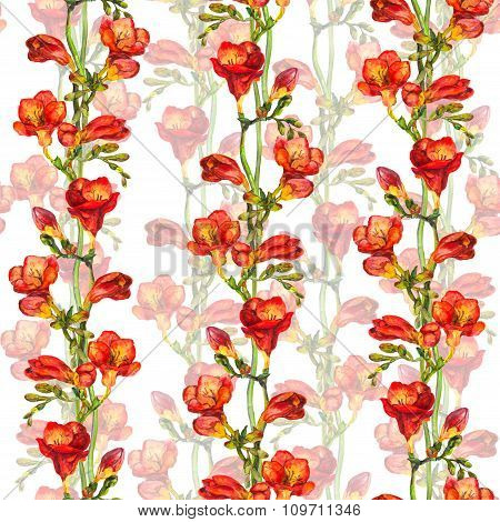 Seamless floral wallpaper with red freesia flower on green buds background