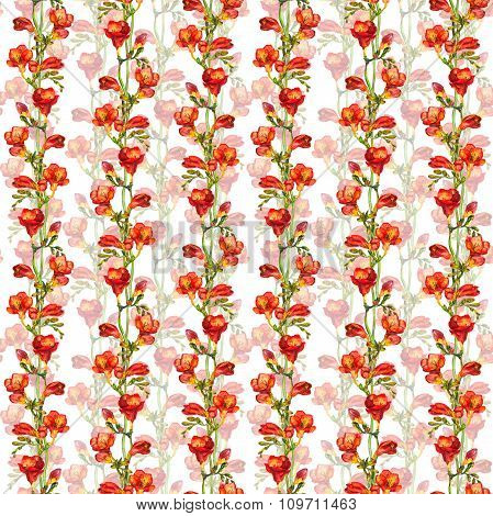 Seamless floral romantic swatch with red freesias flowers