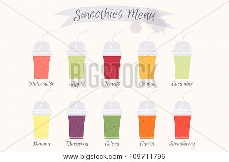Collection of ten healthy fruit smoothies.
