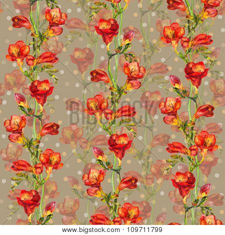 Seamless pattern with red freesias flowers on backdrop with pea