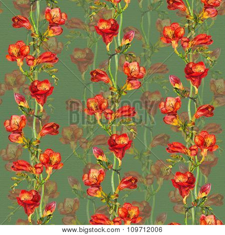Bright seamless floral pattern with watercolor red freesia flower on paper texture
