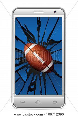 Cracked Smart Phone American Football