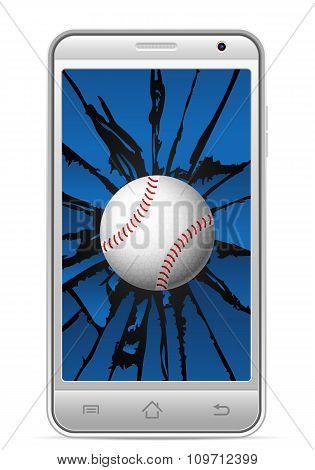 Cracked Smart Phone Baseball