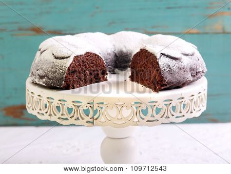 Chocolate Ring Cake Coated With Icing Sugar