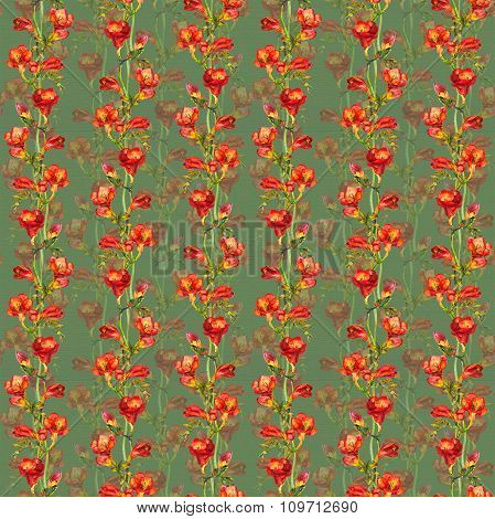 Seamless fabric design with exquisite red botanical freesia flower