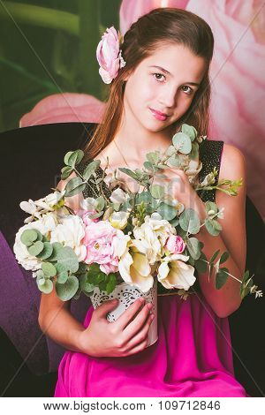 Portrait of a beautiful teen girl of European appearance