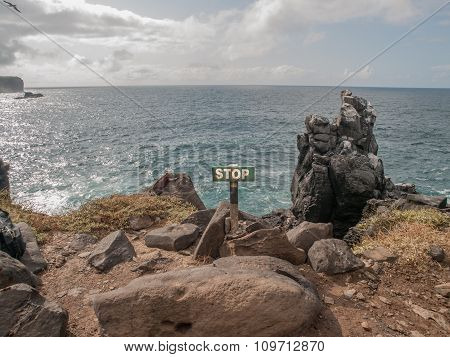 Stop Sign Galapagos Islands