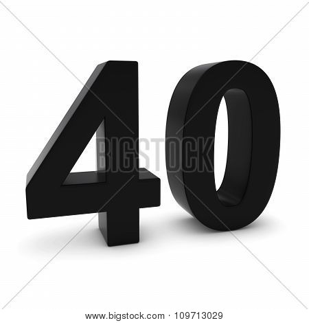 Black 3D Number Forty Isolated On White With Shadows