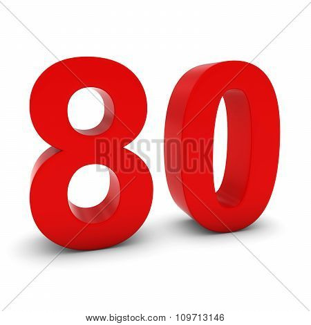 Red 3D Number Eighty Isolated On White With Shadows