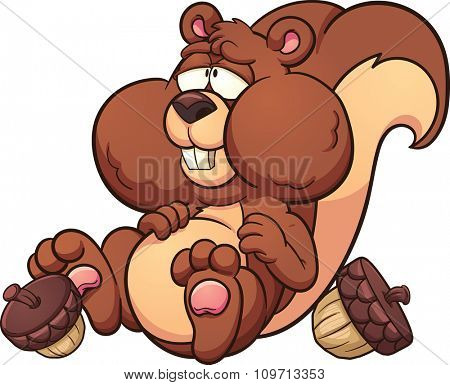 Fat cartoon squirrel. Vector clip art illustration with simple gradients. Squirrel an acorns on separate layers.