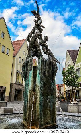City fountain at the Fuchseck in Ellwangen, Germany
