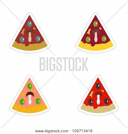 Set of paper stickers on white background slice of pizza