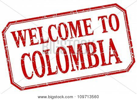 Colombia - Welcome Red Vintage Isolated Label