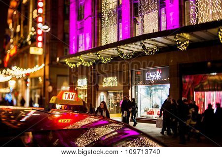 Taxi In The Center Near Galeries Lafayette Luxury Shopping Mall