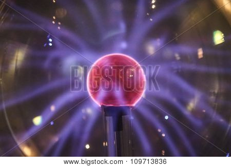 Plasma Ball Lamp With Bright Sphere.