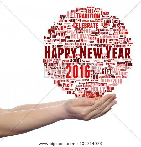 Concept conceptual Happy New Year 2016 or Christmas abstract holiday red word cloud isolated