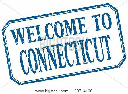 Connecticut - Welcome Blue Vintage Isolated Label Sign