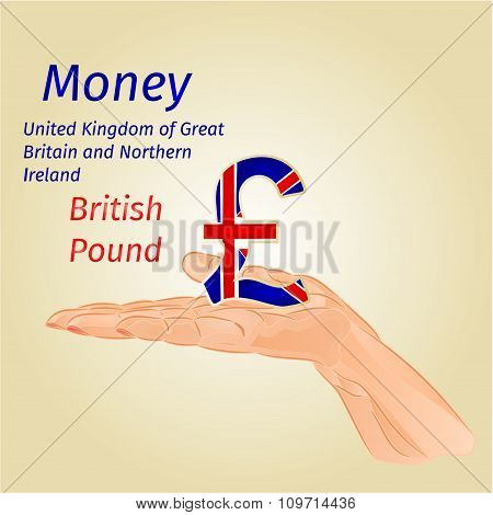 Money-the British Pound On Palm Vector
