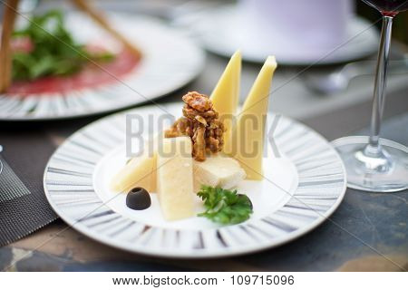 Gourmet Appetizers With Various Cheese