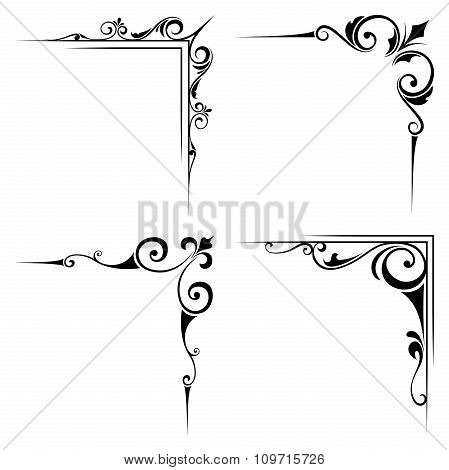 Calligraphic decorative black corner elements. Vector illustration.