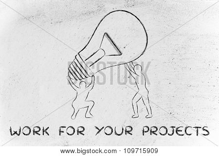 Men Lifting Up A Huge Idea Lightbulb, With Text Work For Your Projects