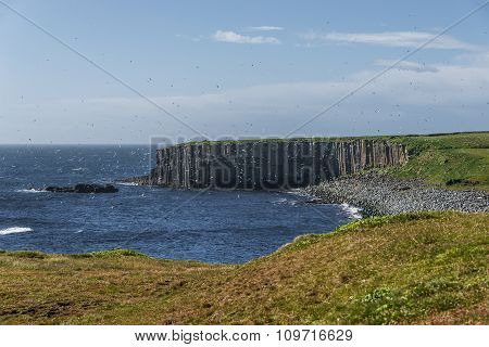 Beautiful Seashore Of Grimsey Island Nearby Iceland, Summer Time