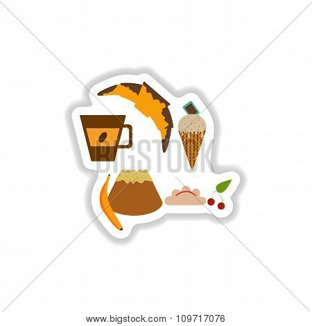 Set stylish paper stickers savory and sweet snacks
