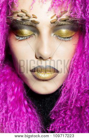Woman In Violet Wig
