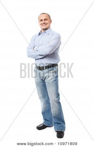 Full Length Portrait Of A Young Businessman On White