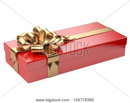 Red Gift Box With Blank Gift Tag