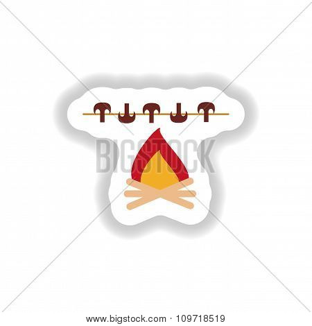 stylish paper sticker mushrooms grilled on the fire