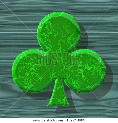 Abstract decorative symbol, green clover - practical shape