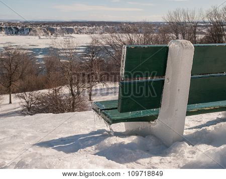 Green Icy Bench