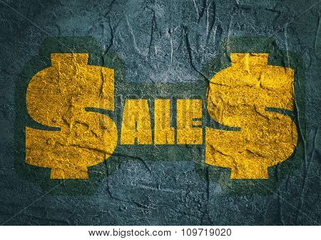 Sales outline yellow sticker on blue concrete textured surface
