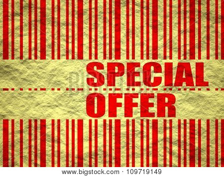 Yellow crumpled paper sheet special offer text and bar code