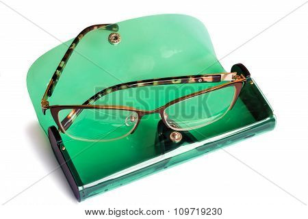 Spectacles And Spectacle Case Isolated On White Background.