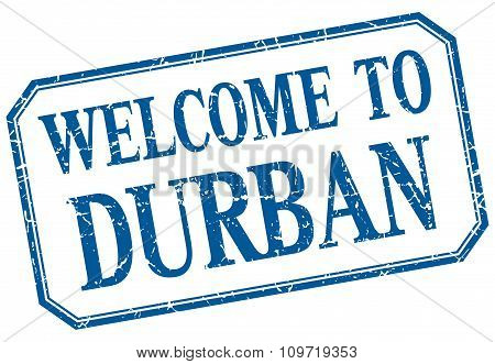 Durban - Welcome Blue Vintage Isolated Label
