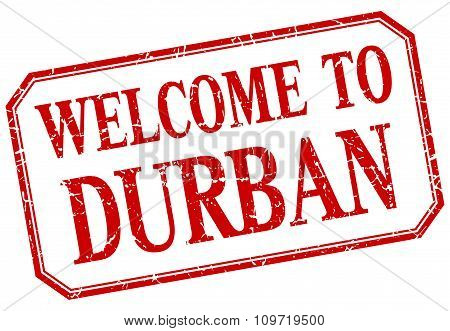 Durban - Welcome Red Vintage Isolated Label