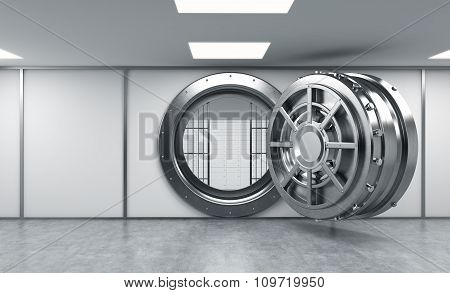 3D Rendering Of A Big Open Round Metal Safe With Lock-boxes Behind Bars In A Bank Depository, Front