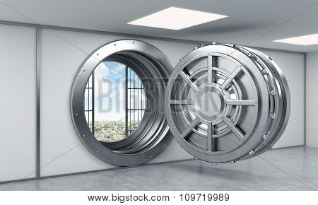3D Rendering Of A Big Open Round Steel Safe In A Bank Depository, A Concept Of Dream And Prosperity,