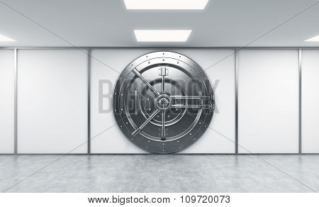 3D Rendering Of A Big Locked Round Metal Safe In A Bank Depository,  A Concept Of Security,  Front V