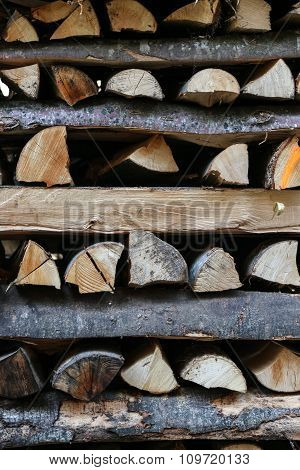 Pile Of Firewood Criss Crossed Horizontally.