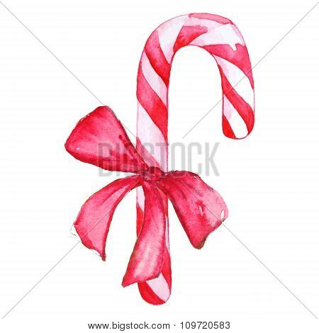 Christmas candy cane with bow