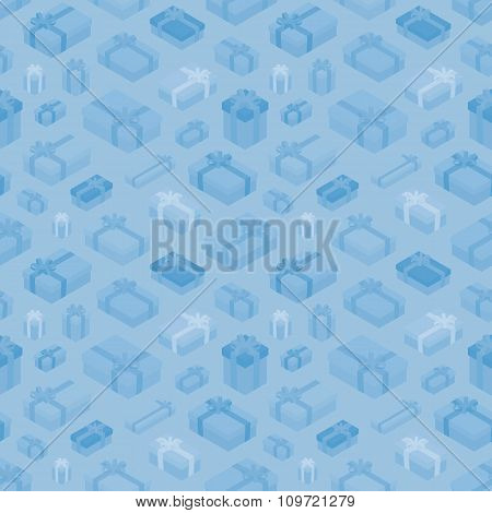 Seamless pattern with the isometric gift boxes
