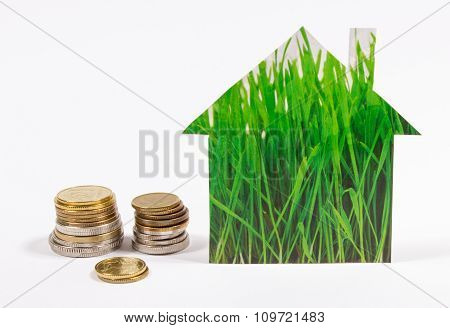 Grass Home Icon, Polish Coin Isolated On White Background