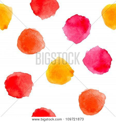 Hand Drawn Watercolor Red And Yellow Polka Dot Seamless Pattern