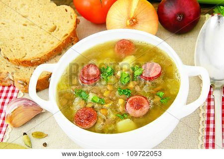 Lentil Soup with Smoked Sausage and Celery