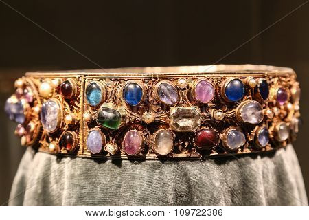 Antique Gold Jewelry Crown With Precious Gems.